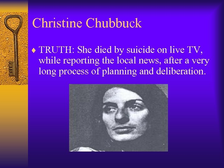 Christine Chubbuck ¨ TRUTH: She died by suicide on live TV, while reporting the