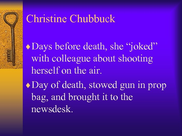 "Christine Chubbuck ¨Days before death, she ""joked"" with colleague about shooting herself on the"