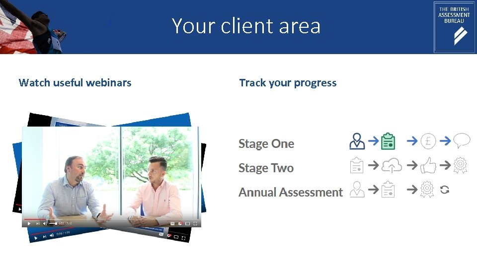 Your client area Watch useful webinars Track your progress