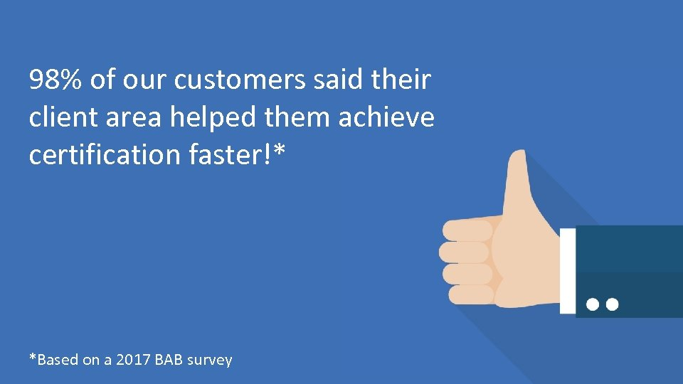 98% of our customers said their client area helped them achieve certification faster!* *Based
