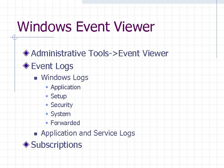 Windows Event Viewer Administrative Tools->Event Viewer Event Logs n Windows Logs w w w