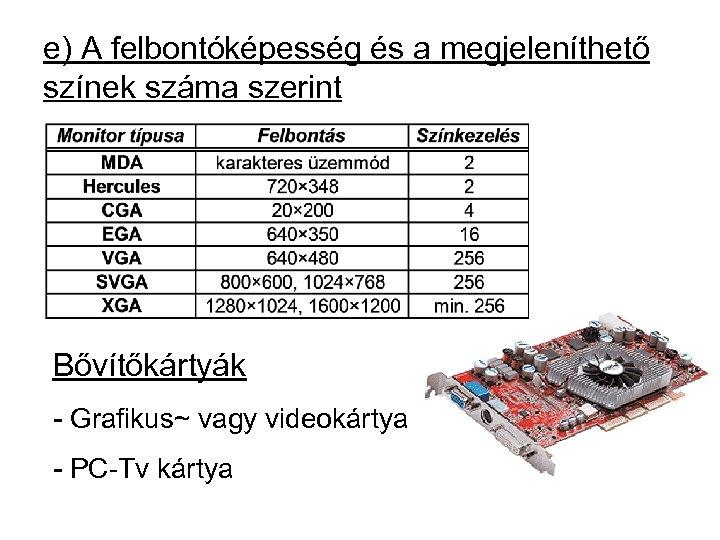 e) A felbontóképesség és a megjeleníthető színek száma szerint Bővítőkártyák - Grafikus~ vagy videokártya