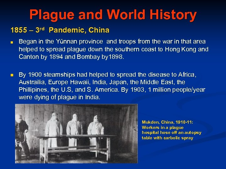 Plague and World History 1855 – 3 rd Pandemic, China ■ Began in the