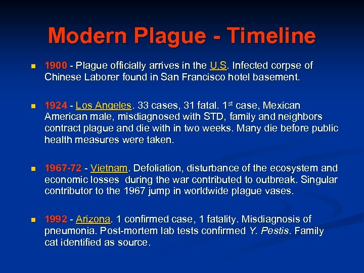 Modern Plague - Timeline n 1900 - Plague officially arrives in the U. S.
