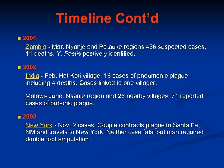 Timeline Cont'd ■ 2001 Zambia - Mar. Nyanje and Petauke regions 436 suspected cases,