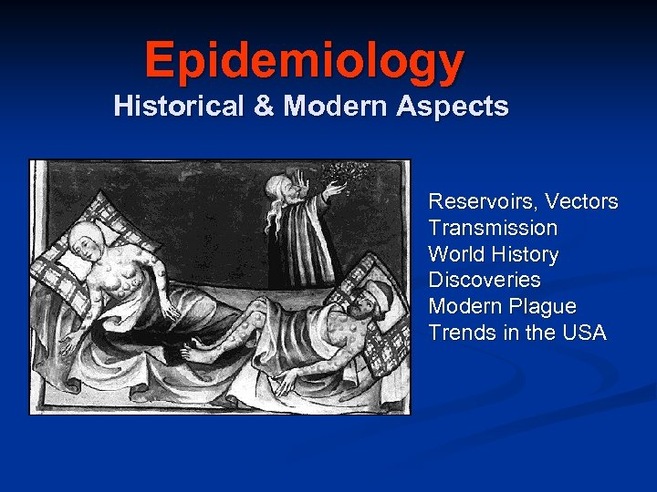 Epidemiology Historical & Modern Aspects Reservoirs, Vectors Transmission World History Discoveries Modern Plague Trends