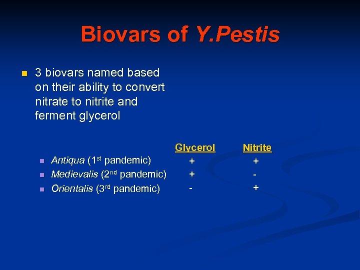 Biovars of Y. Pestis n 3 biovars named based on their ability to convert