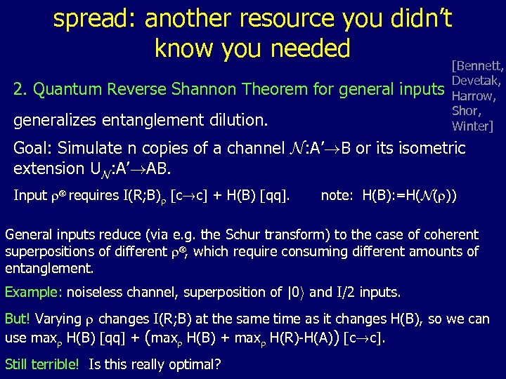spread: another resource you didn't know you needed 2. Quantum Reverse Shannon Theorem for