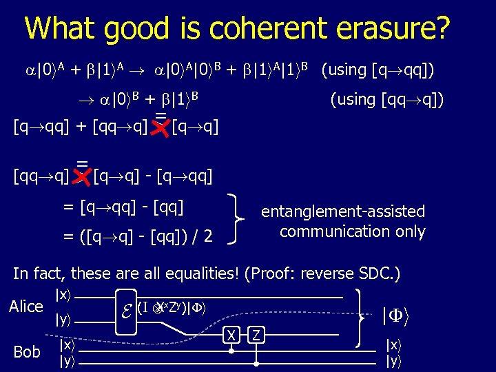 What good is coherent erasure? a|0 i. A + b|1 i. A ! a|0