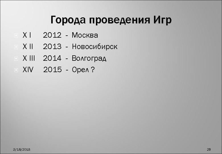 Города проведения Игр XI X III XIV 3/16/2018 2012 2013 2014 2015 - Москва