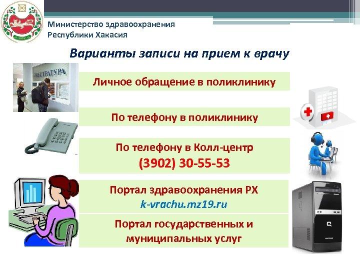 Министерство здравоохранения Республики Хакасия Варианты записи на прием к врачу Личное обращение в поликлинику