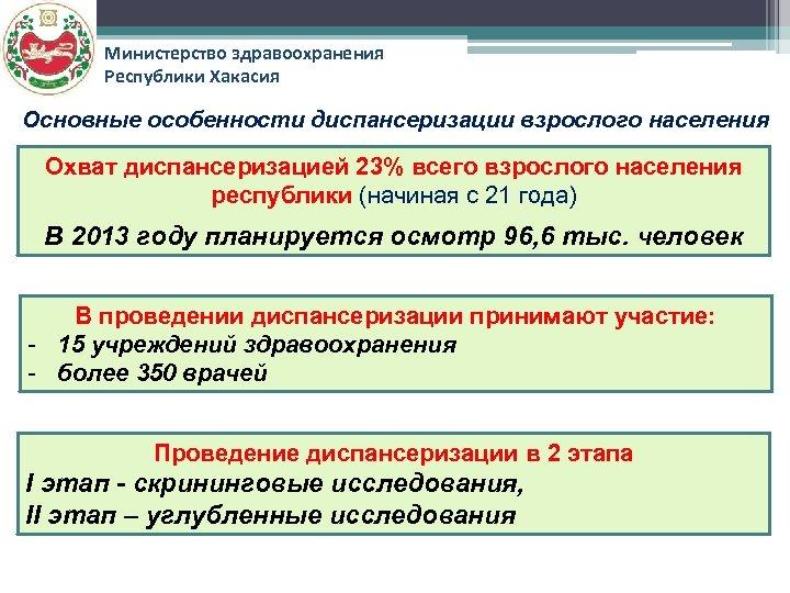Министерство здравоохранения Республики Хакасия Основные особенности диспансеризации взрослого населения Охват диспансеризацией 23% всего взрослого