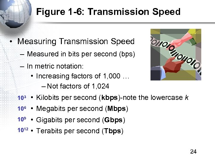 Figure 1 -6: Transmission Speed • Measuring Transmission Speed – Measured in bits per