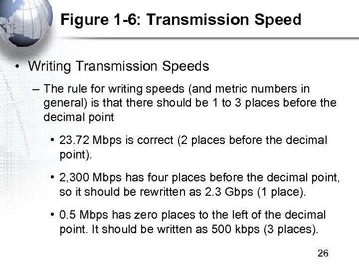 Figure 1 -6: Transmission Speed • Writing Transmission Speeds – The rule for writing