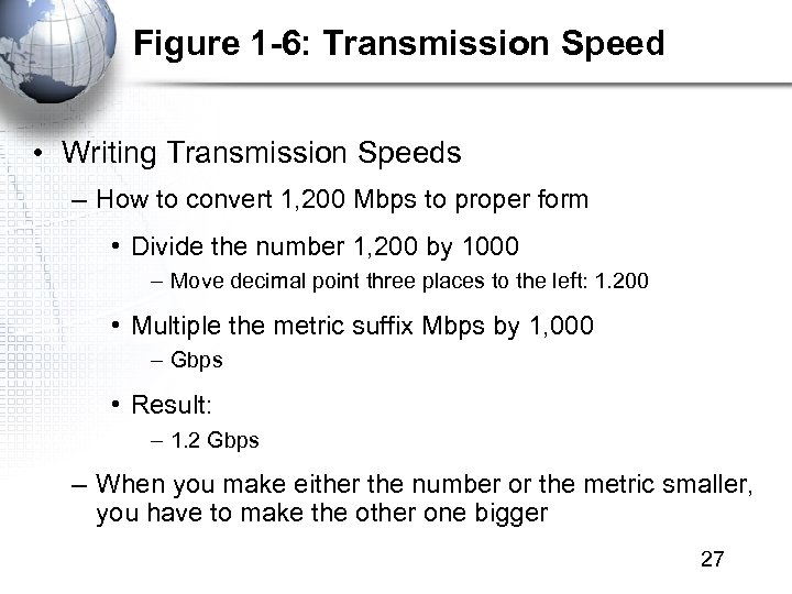 Figure 1 -6: Transmission Speed • Writing Transmission Speeds – How to convert 1,