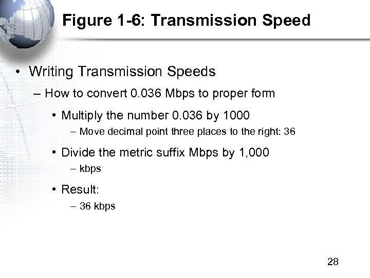 Figure 1 -6: Transmission Speed • Writing Transmission Speeds – How to convert 0.