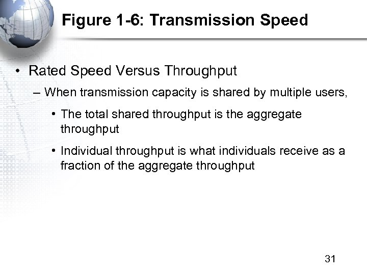 Figure 1 -6: Transmission Speed • Rated Speed Versus Throughput – When transmission capacity