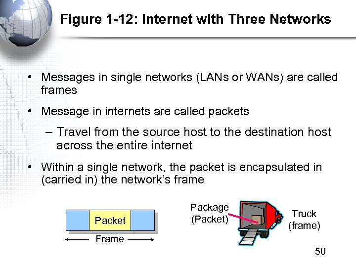 Figure 1 -12: Internet with Three Networks • Messages in single networks (LANs or