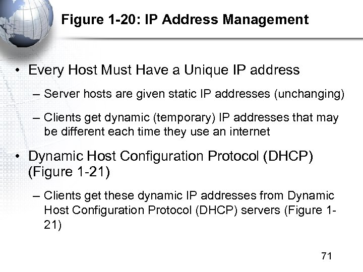 Figure 1 -20: IP Address Management • Every Host Must Have a Unique IP