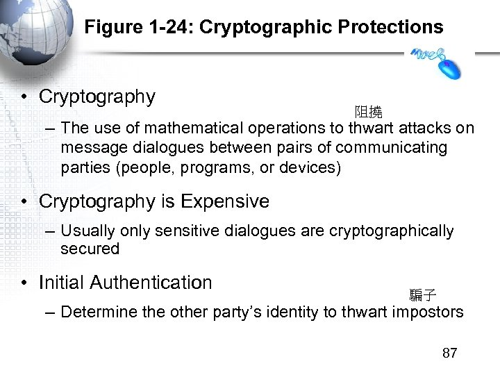 Figure 1 -24: Cryptographic Protections • Cryptography 阻撓 – The use of mathematical operations