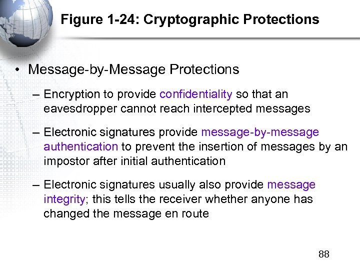 Figure 1 -24: Cryptographic Protections • Message-by-Message Protections – Encryption to provide confidentiality so