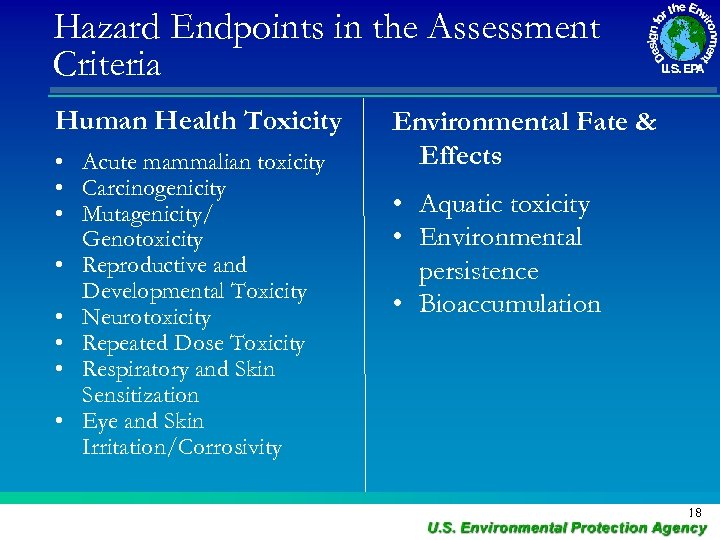 Hazard Endpoints in the Assessment Criteria Human Health Toxicity • Acute mammalian toxicity •