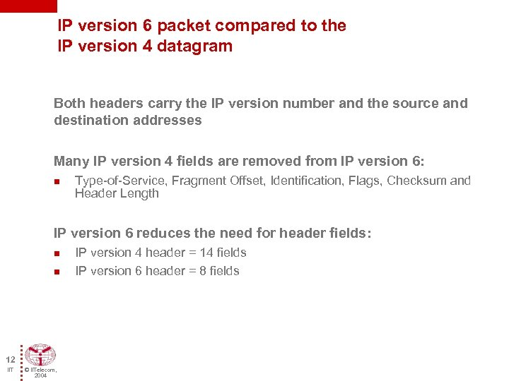 IP version 6 packet compared to the IP version 4 datagram Both headers carry