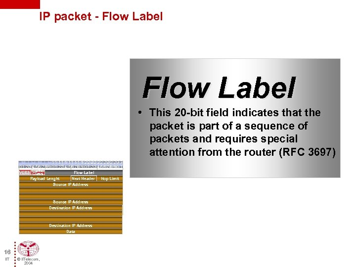 IP packet - Flow Label • This 20 -bit field indicates that the packet