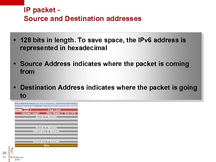 IP packet - Source and Destination addresses • 128 bits in length. To save