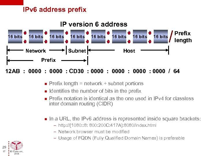 IPv 6 address prefix IP version 6 address 16 bits Network 16 bits Subnet