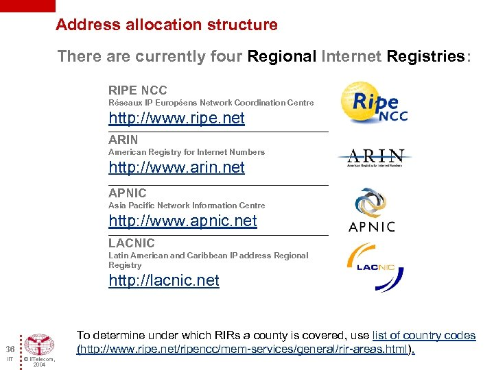 Address allocation structure There are currently four Regional Internet Registries: RIPE NCC Réseaux IP