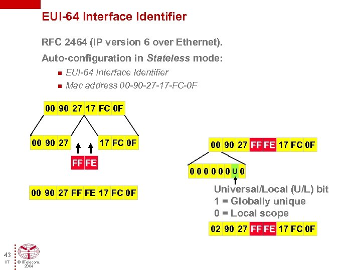 EUI-64 Interface Identifier RFC 2464 (IP version 6 over Ethernet). Auto-configuration in Stateless mode:
