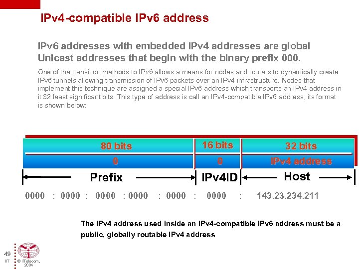 IPv 4 -compatible IPv 6 addresses with embedded IPv 4 addresses are global Unicast