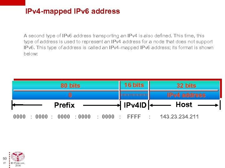 IPv 4 -mapped IPv 6 address A second type of IPv 6 address transporting