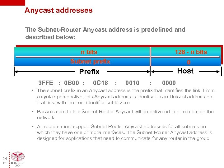 Anycast addresses The Subnet-Router Anycast address is predefined and described below: n bits Subnet