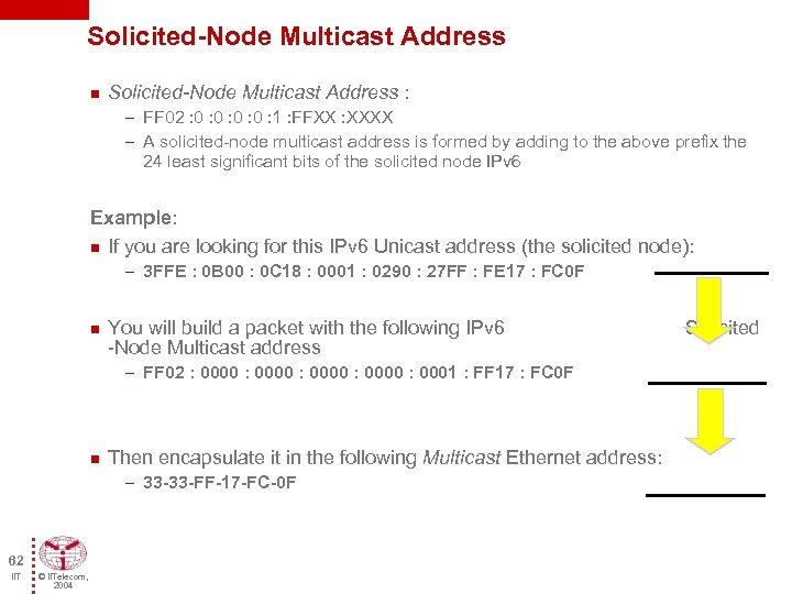 Solicited-Node Multicast Address n Solicited-Node Multicast Address : – FF 02 : 0 :