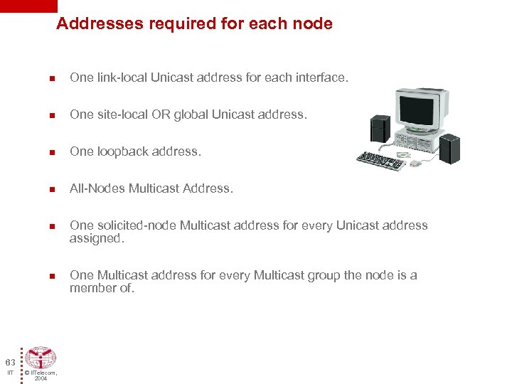 Addresses required for each node n One link-local Unicast address for each interface. n