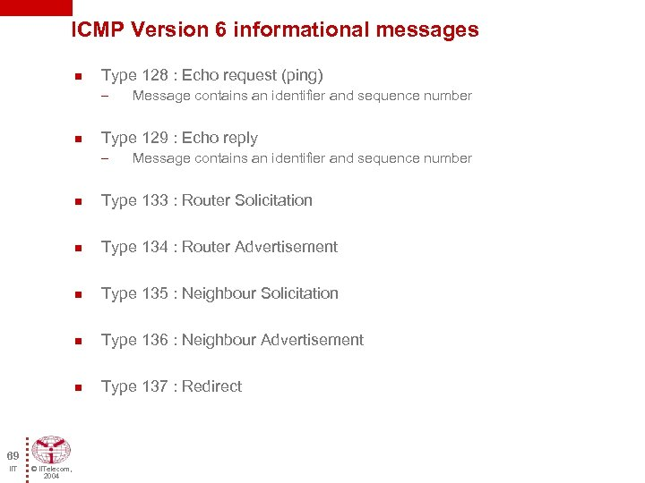 ICMP Version 6 informational messages n Type 128 : Echo request (ping) – n