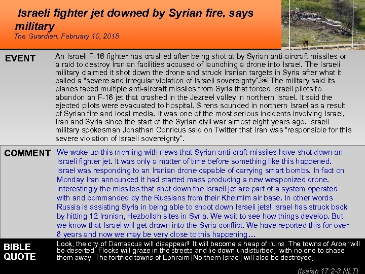 Israeli fighter jet downed by Syrian fire, says military The Guardian, February 10, 2018