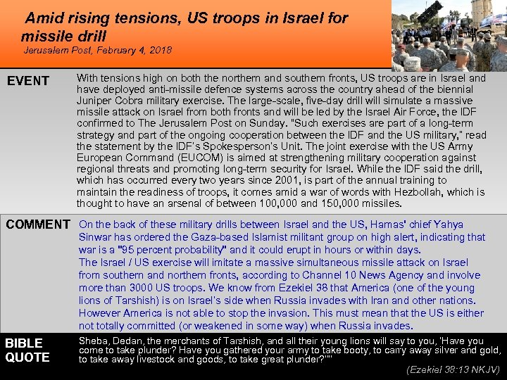 Amid rising tensions, US troops in Israel for missile drill Jerusalem Post, February 4,