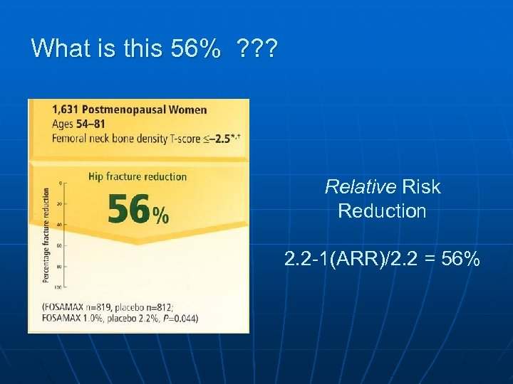 What is this 56% ? ? ? Relative Risk Reduction 2. 2 -1(ARR)/2. 2