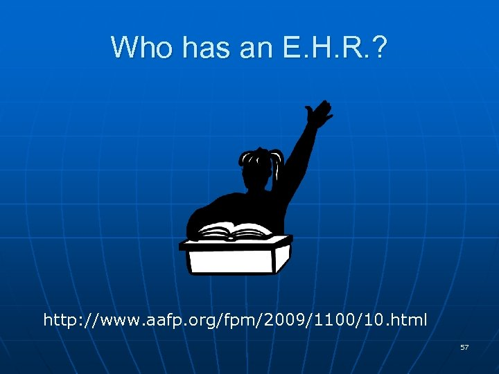 Who has an E. H. R. ? http: //www. aafp. org/fpm/2009/1100/10. html 57