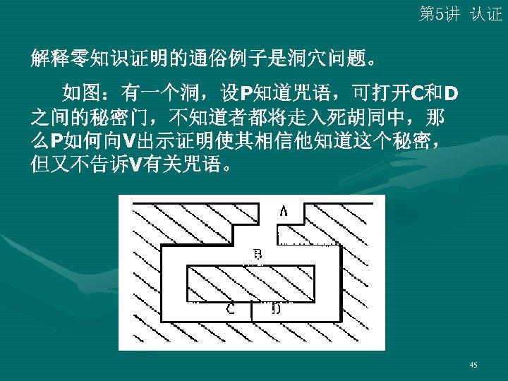 第 5讲 认证 解释零知识证明的通俗例子是洞穴问题。   如图:有一个洞,设P知道咒语,可打开C和D 之间的秘密门,不知道者都将走入死胡同中,那 么P如何向V出示证明使其相信他知道这个秘密, 但又不告诉V有关咒语。 45