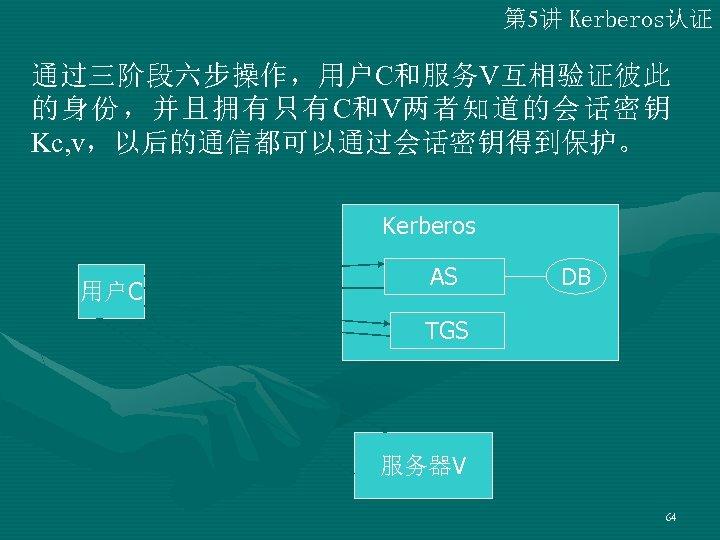 第 5讲 Kerberos认证 通过三阶段六步操作,用户C和服务V互相验证彼此 的身份,并且拥有只有C和V两者知道的会话密钥 Kc, v,以后的通信都可以通过会话密钥得到保护。 Kerberos 用户C AS DB TGS 服务器V 64