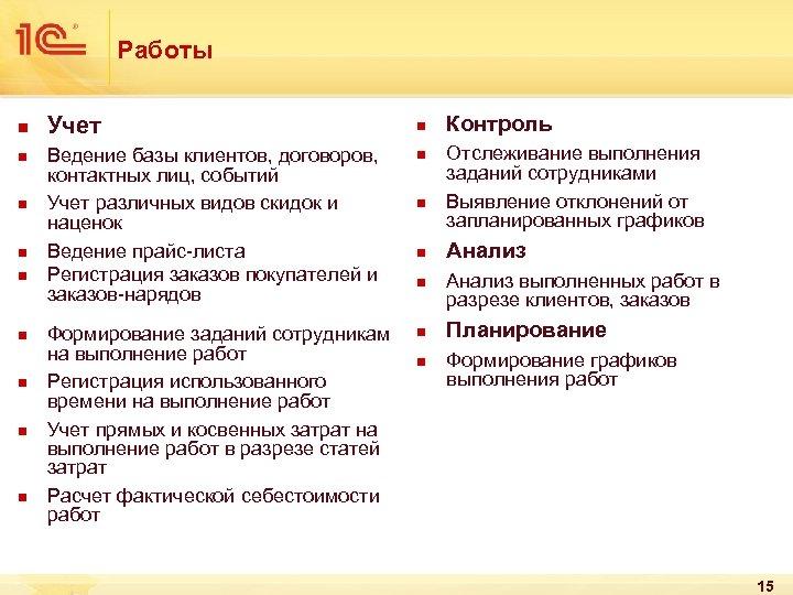 Работы n n n n n Учет n Ведение базы клиентов, договоров, контактных лиц,