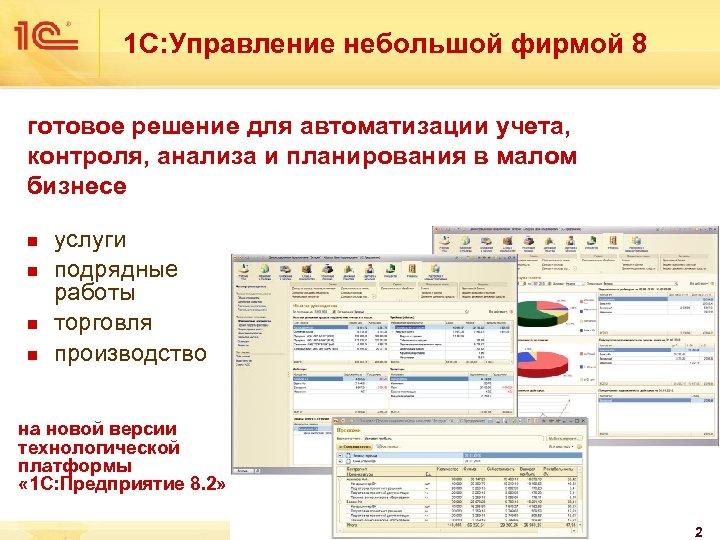 1 С: Управление небольшой фирмой 8 готовое решение для автоматизации учета, контроля, анализа и
