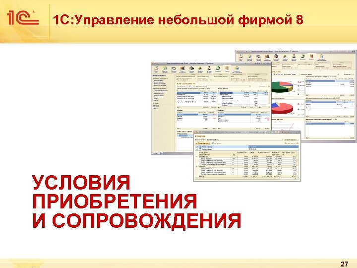 1 С: Управление небольшой фирмой 8 УСЛОВИЯ ПРИОБРЕТЕНИЯ И СОПРОВОЖДЕНИЯ 27