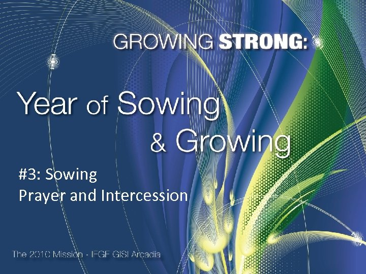 #3: Sowing Prayer and Intercession