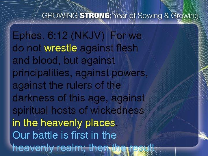 Ephes. 6: 12 (NKJV) For we do not wrestle against flesh and blood, but