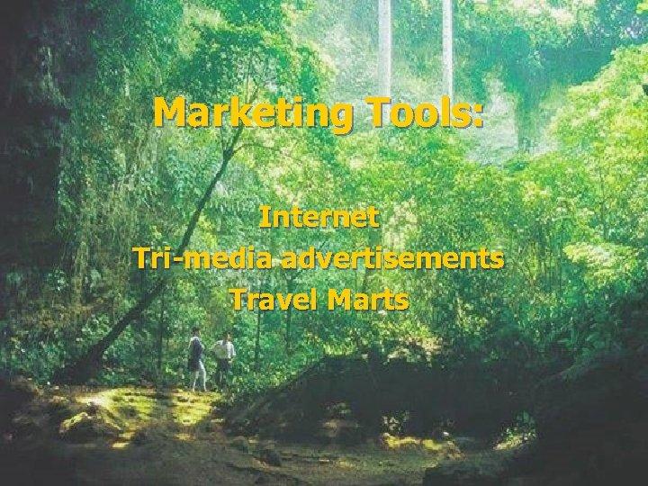 Marketing Tools: Internet Tri-media advertisements Travel Marts